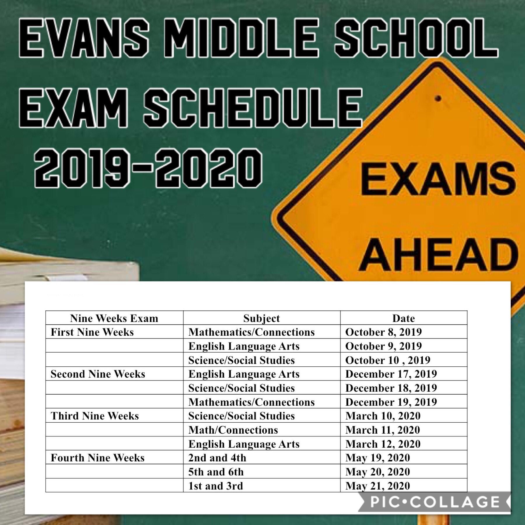 Exam Schedule 2019-2020