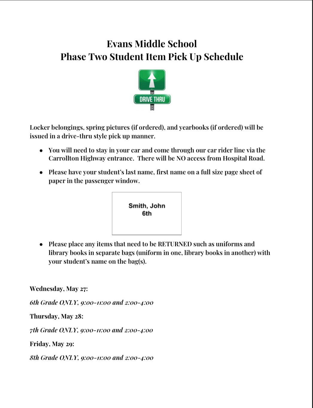 Phase 2: Student pickup by grade level