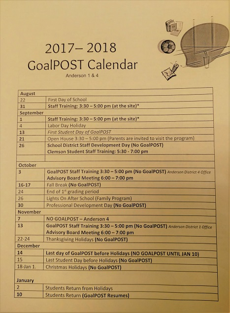 Goalpost Schedule 2017-2018