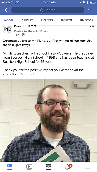 Mr. Huitt Wins 1st PTO Teacher Giveaway Prize