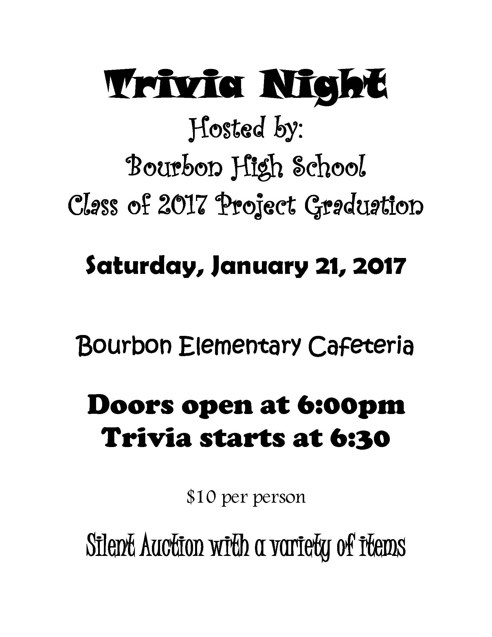 BHS Project Graduation Trivia Night
