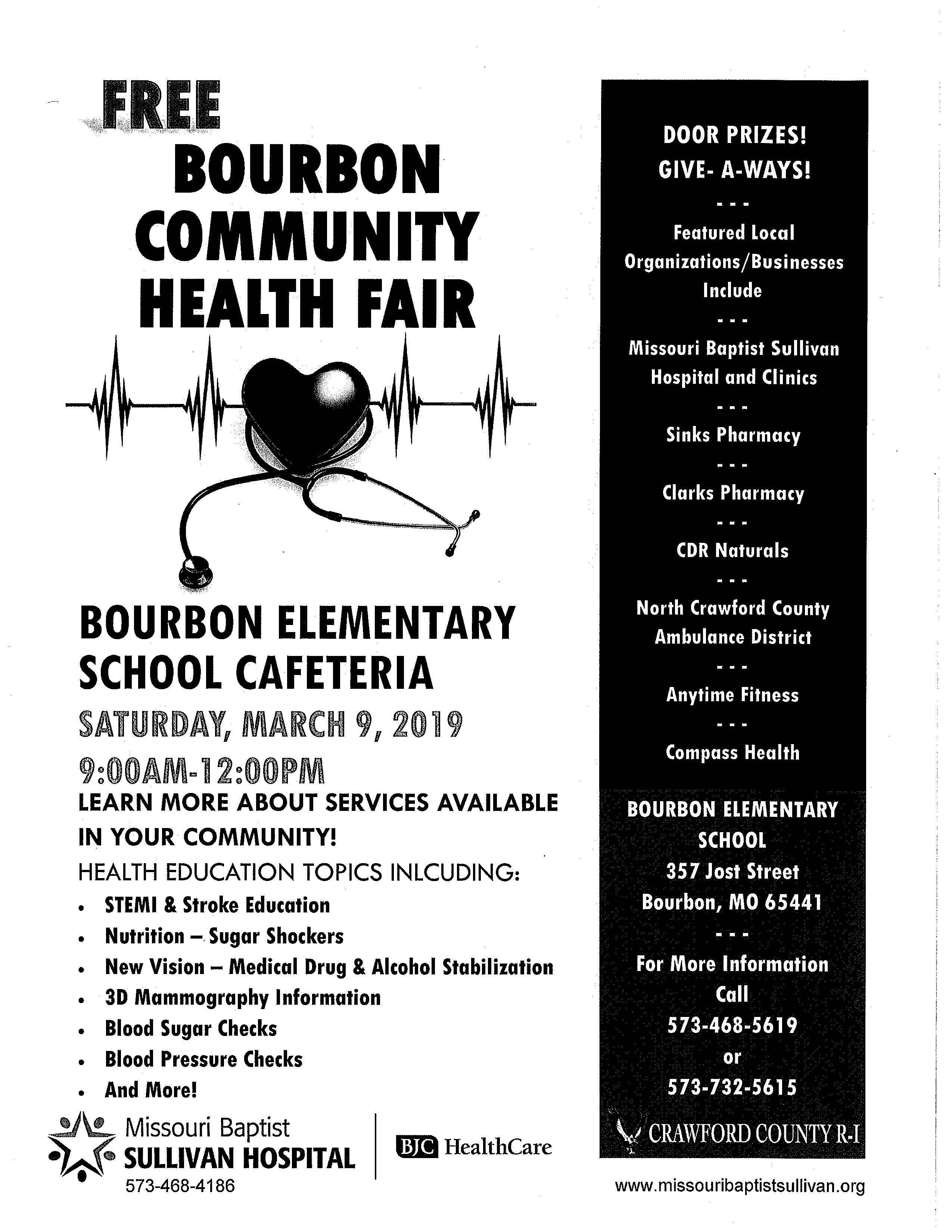 Bourbon Community Health Fair 3/9/19