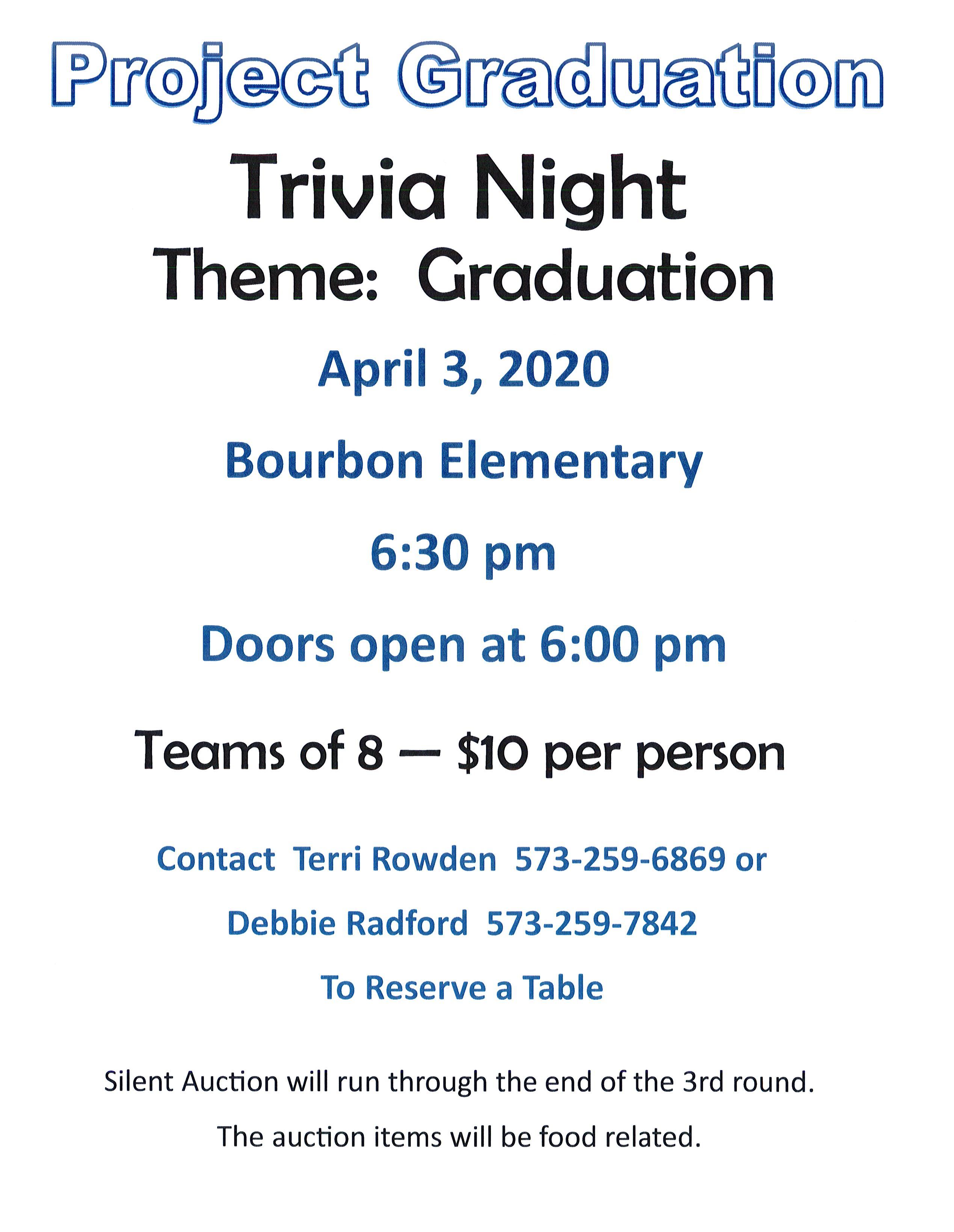 Project Grad -Trivia Night - POSTPONED