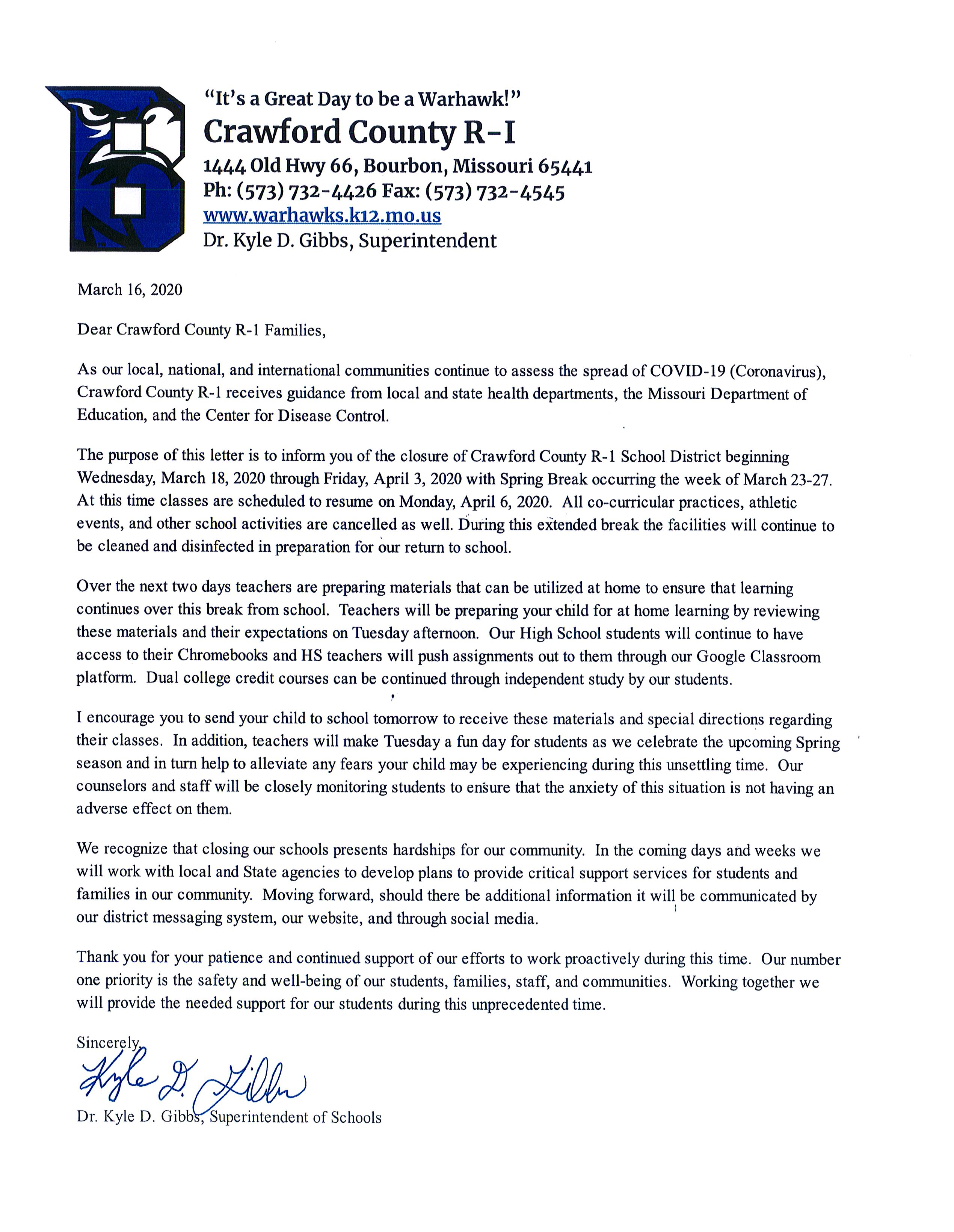 School Closing/Covid-19 Information