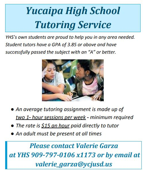 Paid Tutoring via YHS students