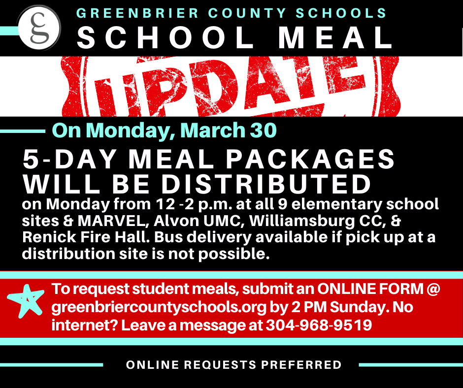 UPDATE: NEW PROCESS TO REQUEST SCHOOL MEALS