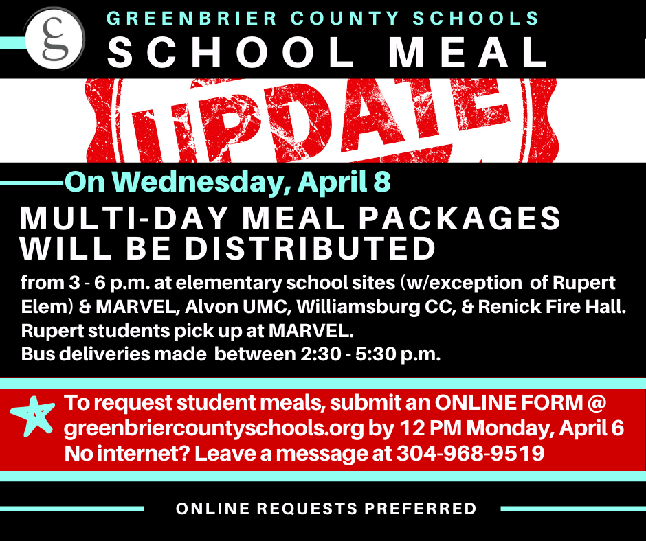 SCHOOL MEAL UPDATES