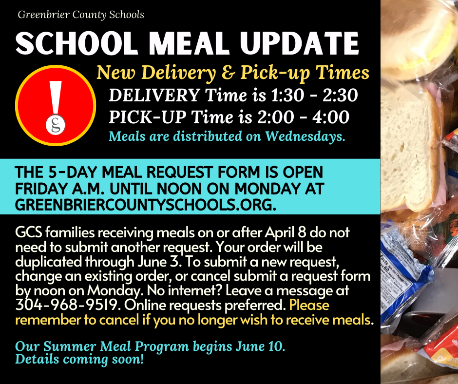 SCHOOL MEALS DISTRIBUTED ON WEDNESDAYS - Request form opens Friday A.M. / closes Monday at Noon