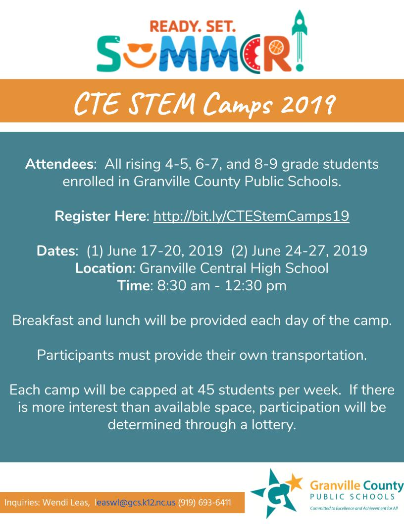CTE Summer STEM Camp 2019