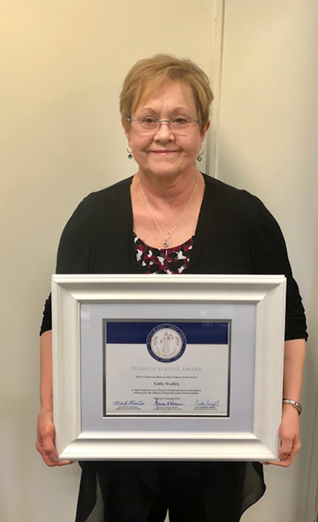 Kathy Bradley was recognized for her 20 years of service