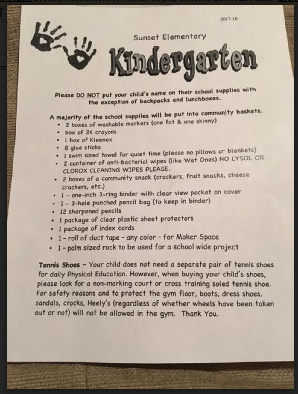 Supply List- Kindergarten