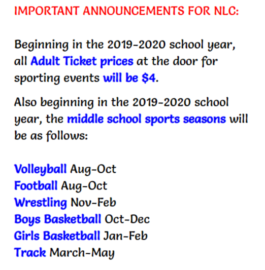 NLC Athletic Changes for 2019-20
