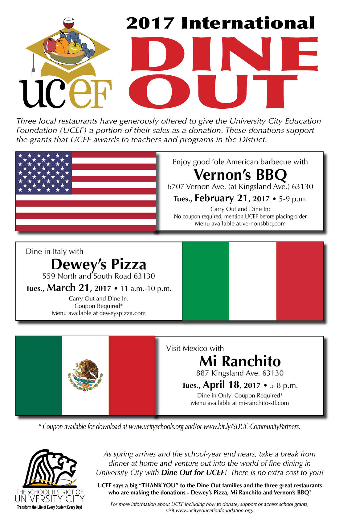 Next UCEF Dine Out at Dewey's - March 21