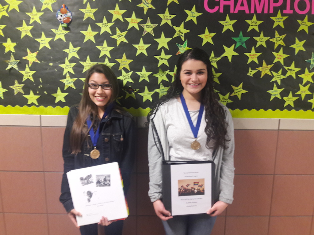 TPSP Winners in 8th Grade-Paris Chalfant, Mirely Salinas and not pictured, Daniela Ruiz.