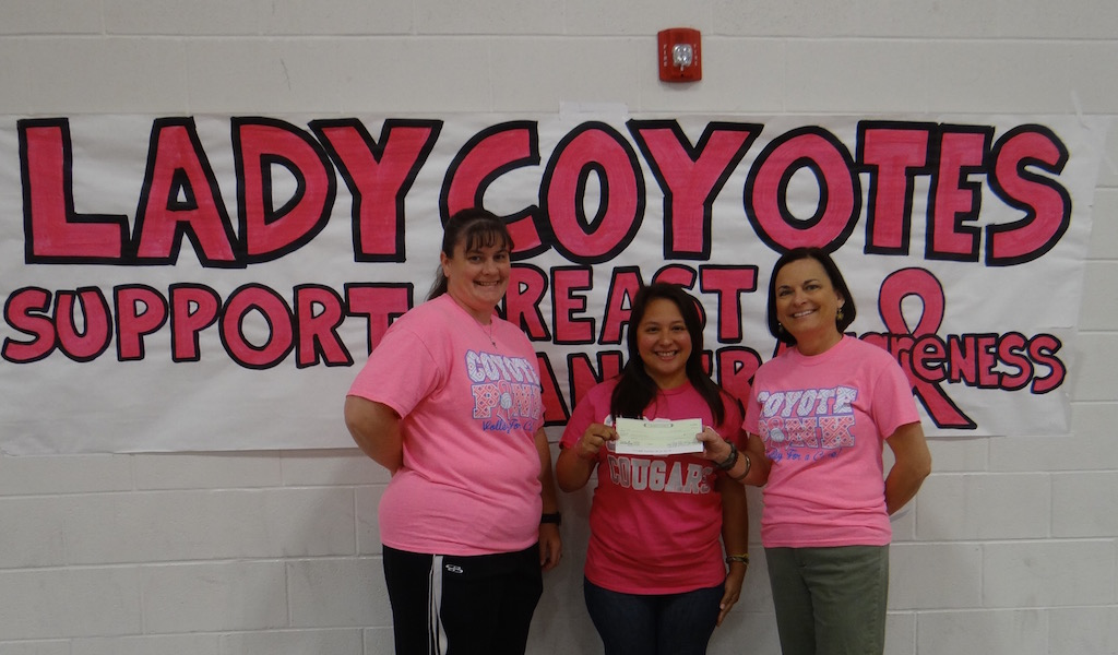 Check presented to Making Strides Against Breast Cancer. Allisa Zamarripa-Garza representing the Amer. Cancer Society