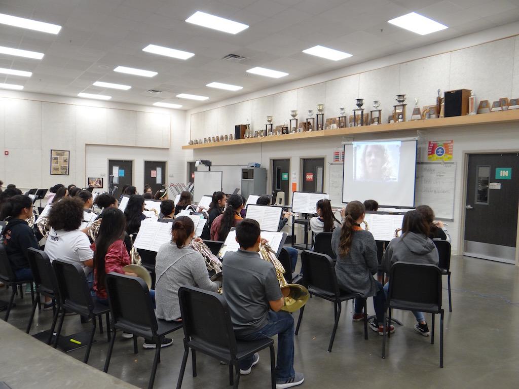 Band Director D. Salinas teaching class using Google Hangouts.