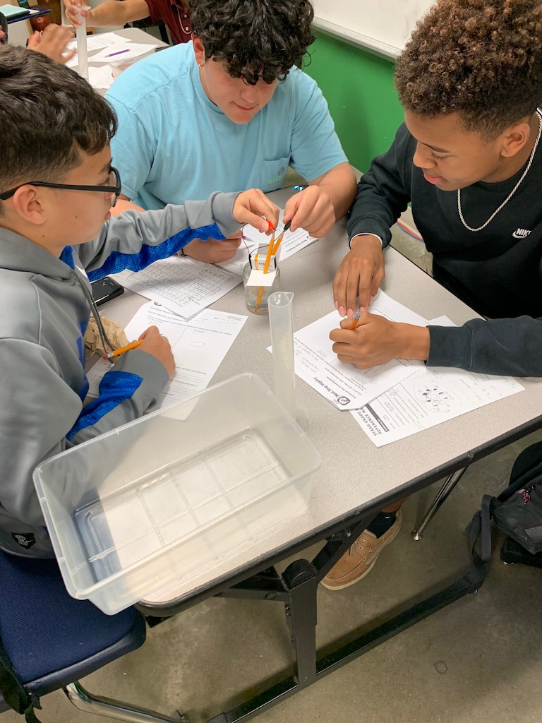 8th Grade Science class working on an investigation