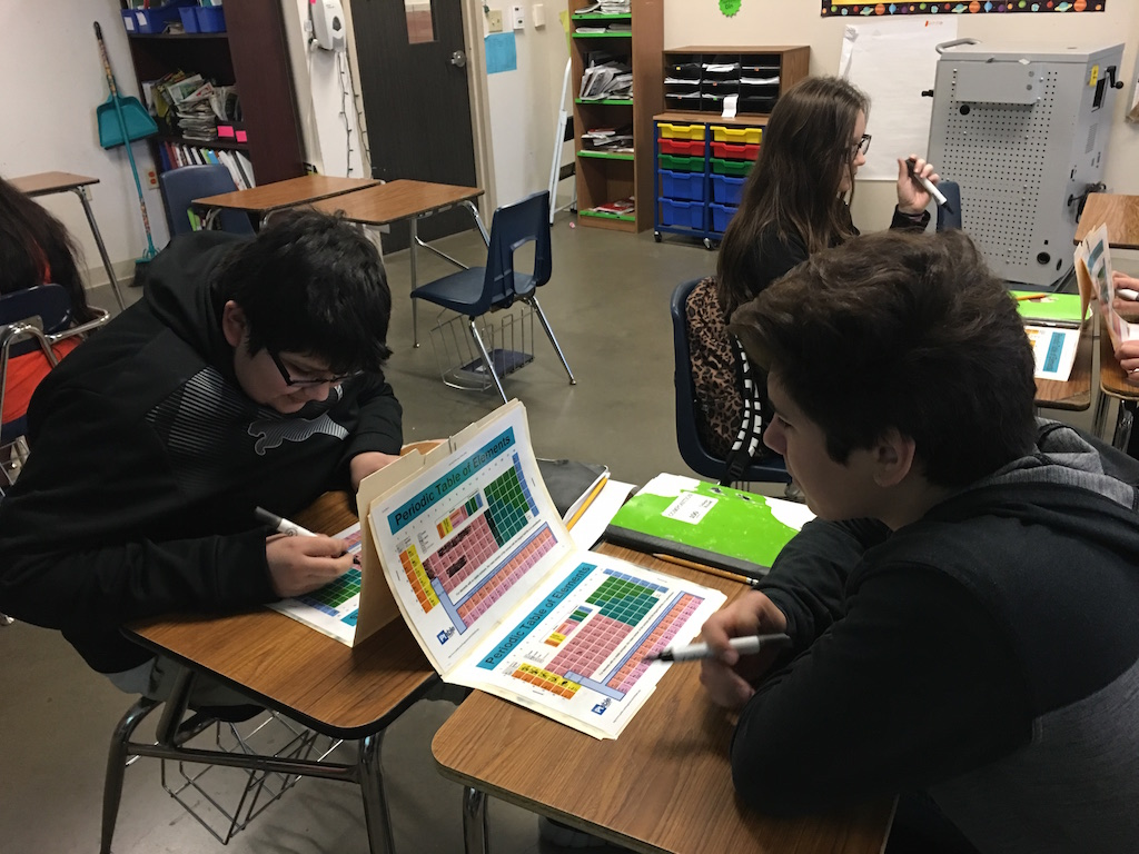 Students from Mrs. D. Garcia's class playing periodic table battleship