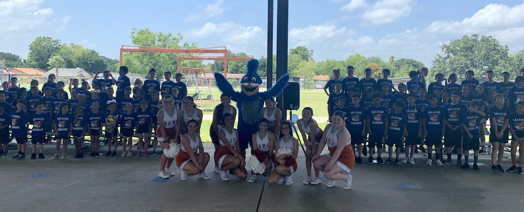 Cheerleaders at the Little Olympic Pep Rally for Salazar Elem.
