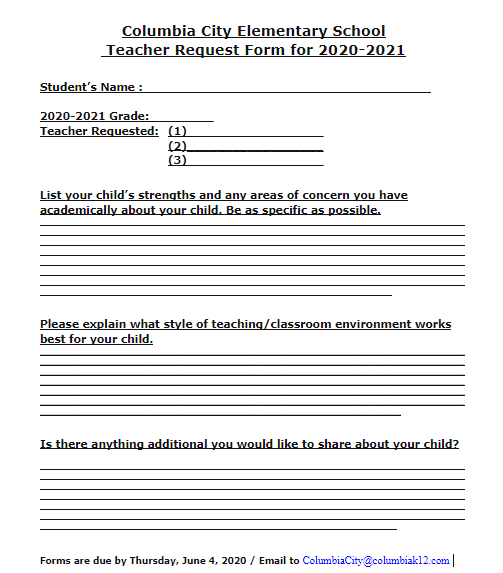 Online Teacher Request Form 2020-2021