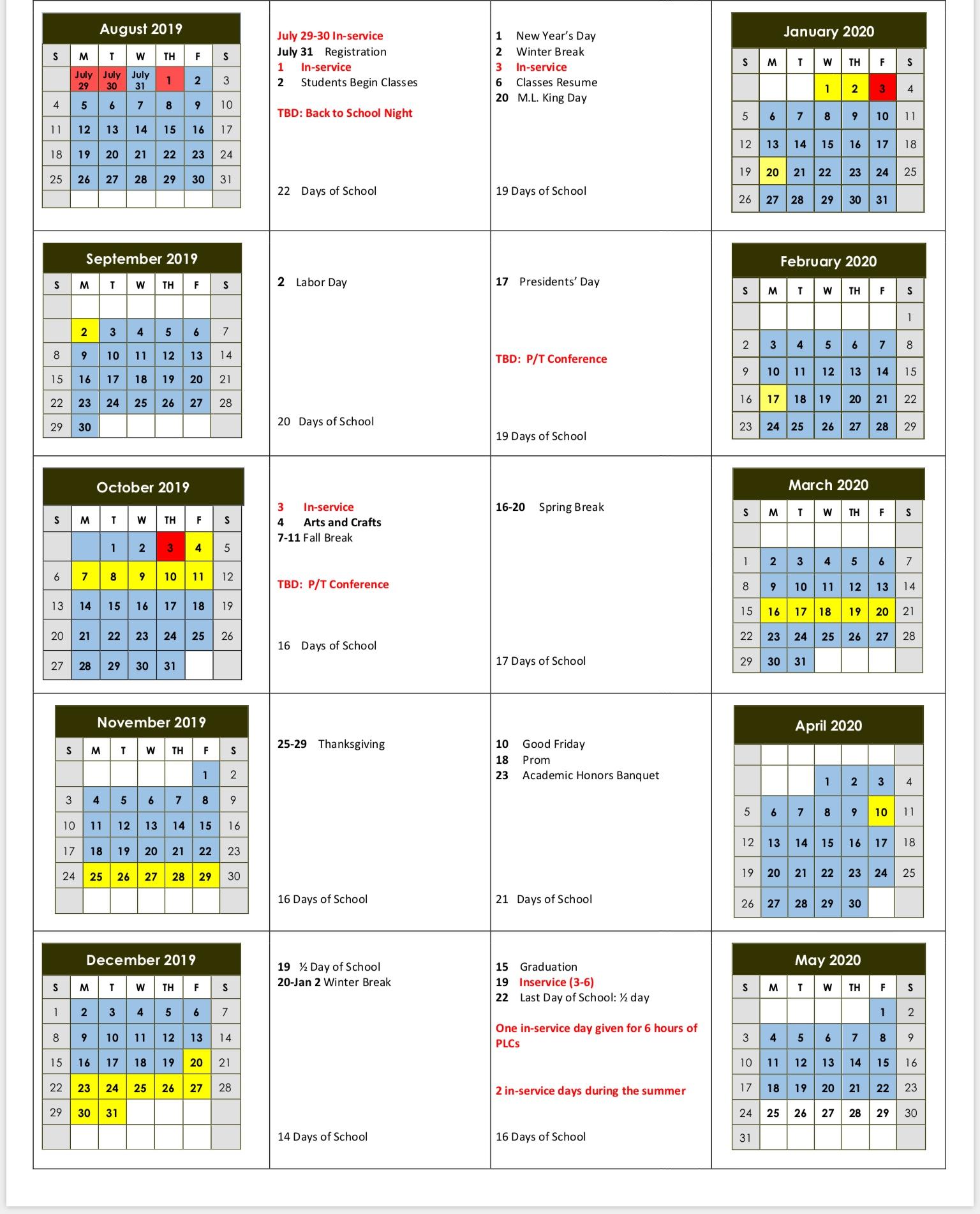 2019-2020 Lake County Schools Calendar