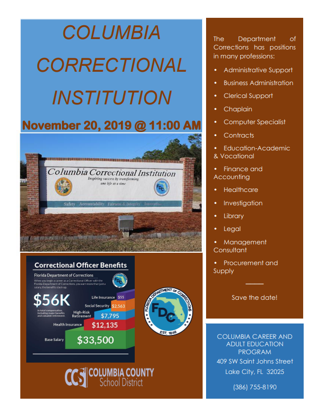 Columbia Correctional Institution Informational Meeting November 20, 2019 @ 11:00 AM