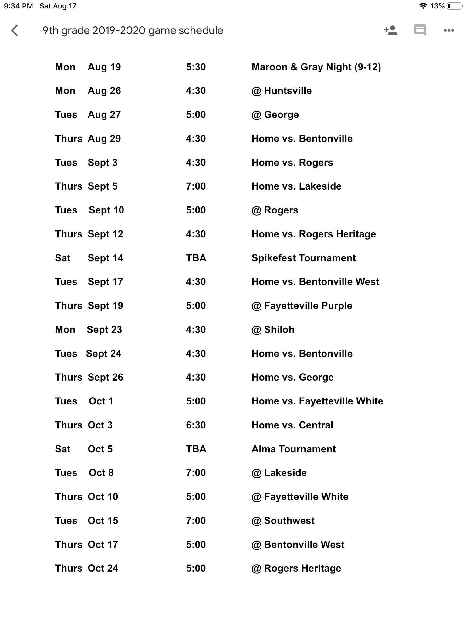 2019 9th Grade Volleyball Schedule