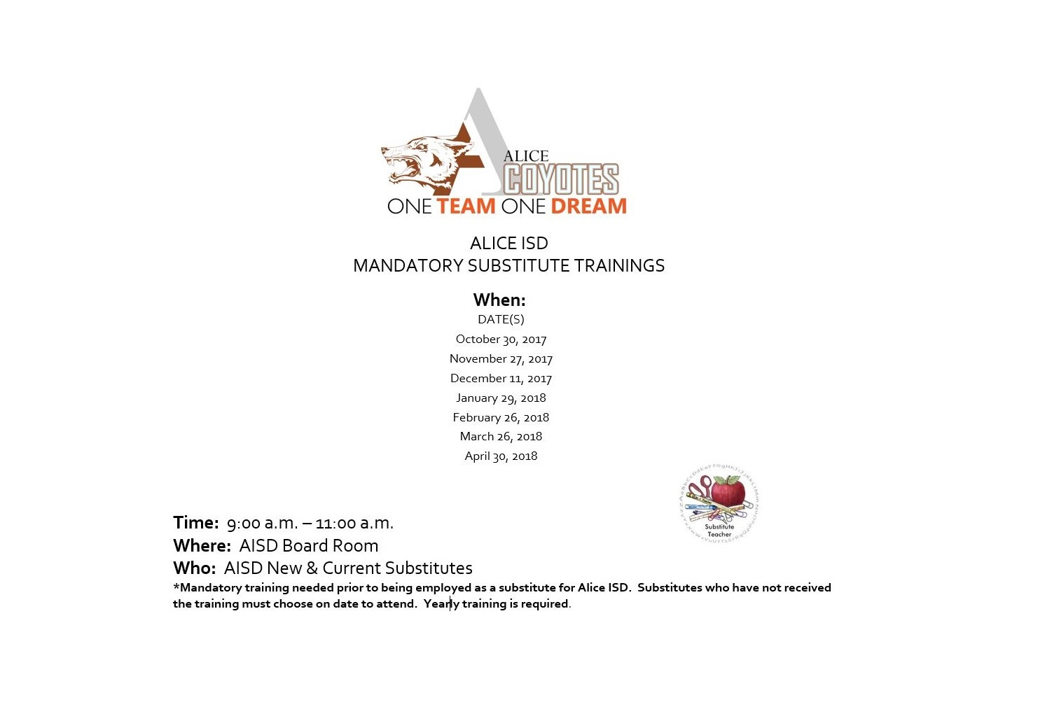 Home alice independent school district mandatory sub training alramifo Image collections
