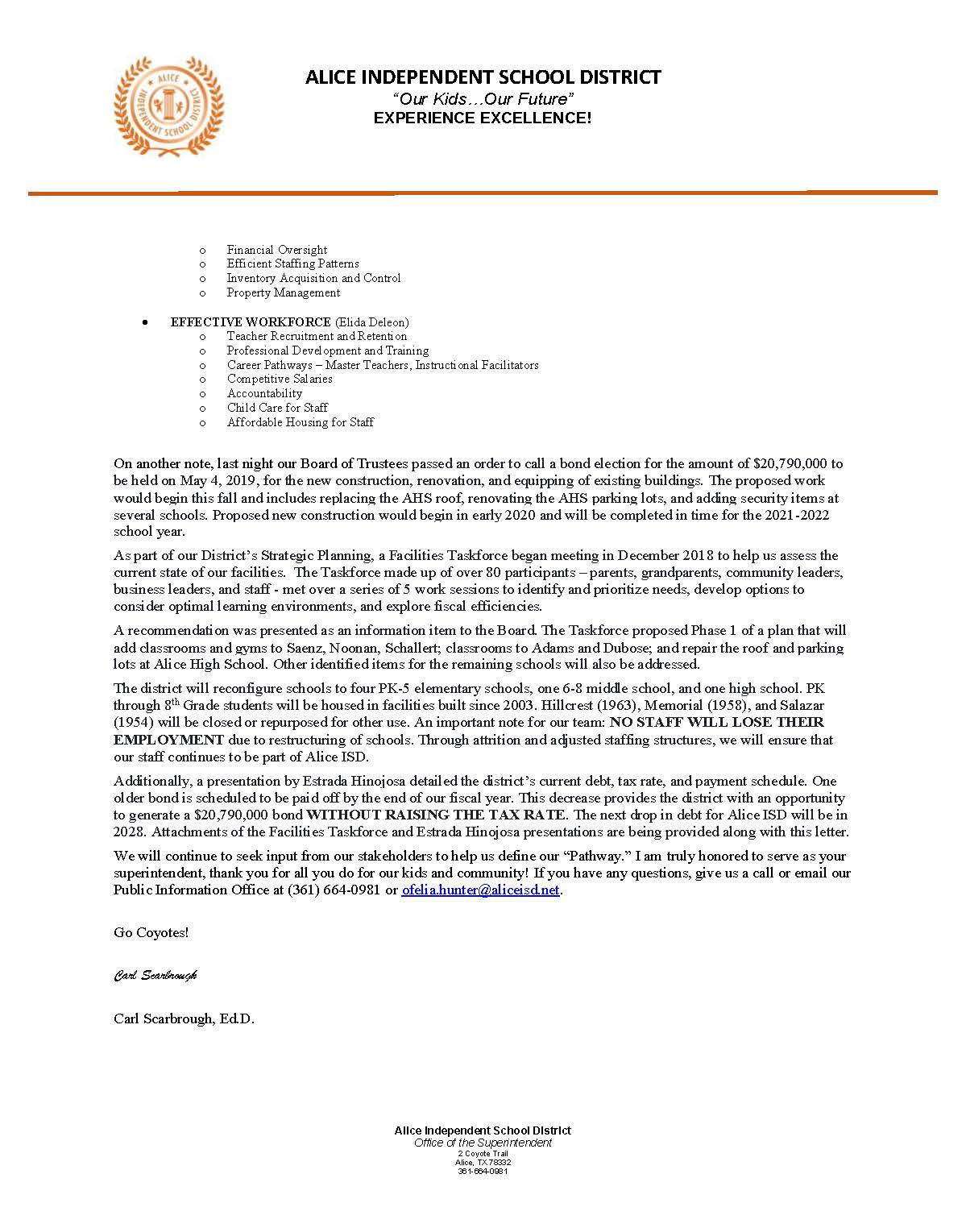 Superintendent letter to Staff and Community