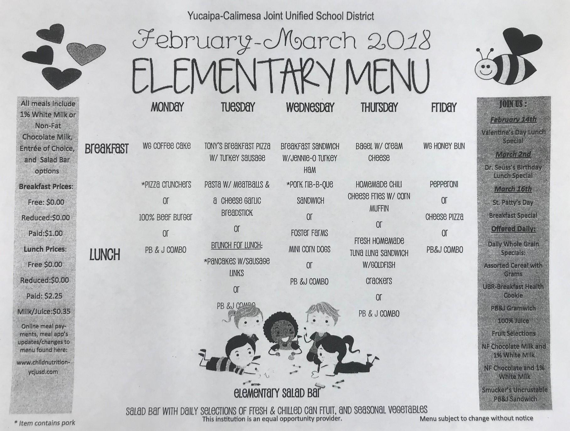 february - march menu