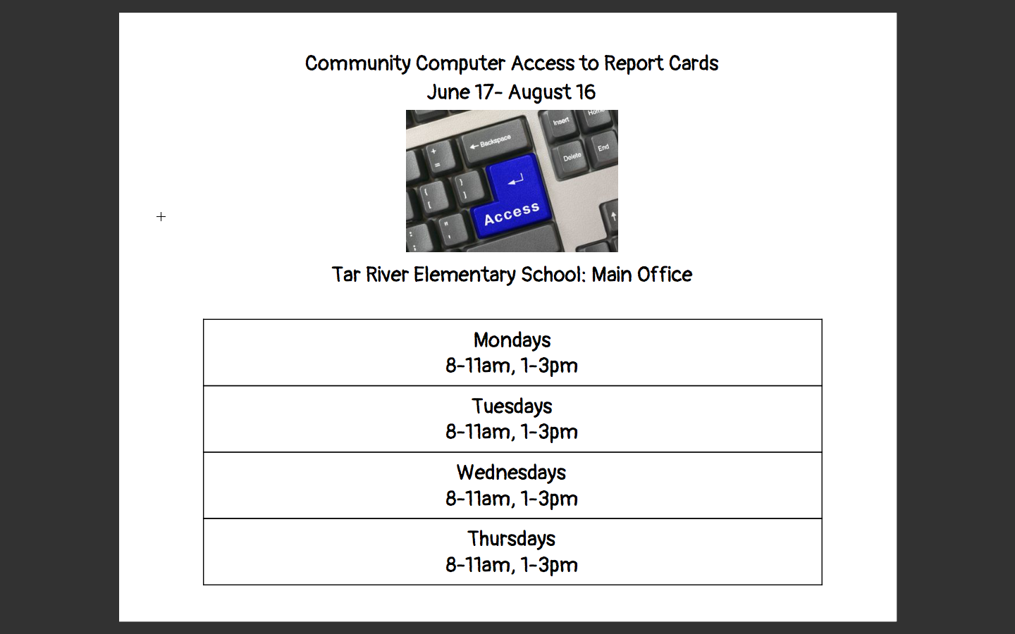 Community Computer Access to Report Cards