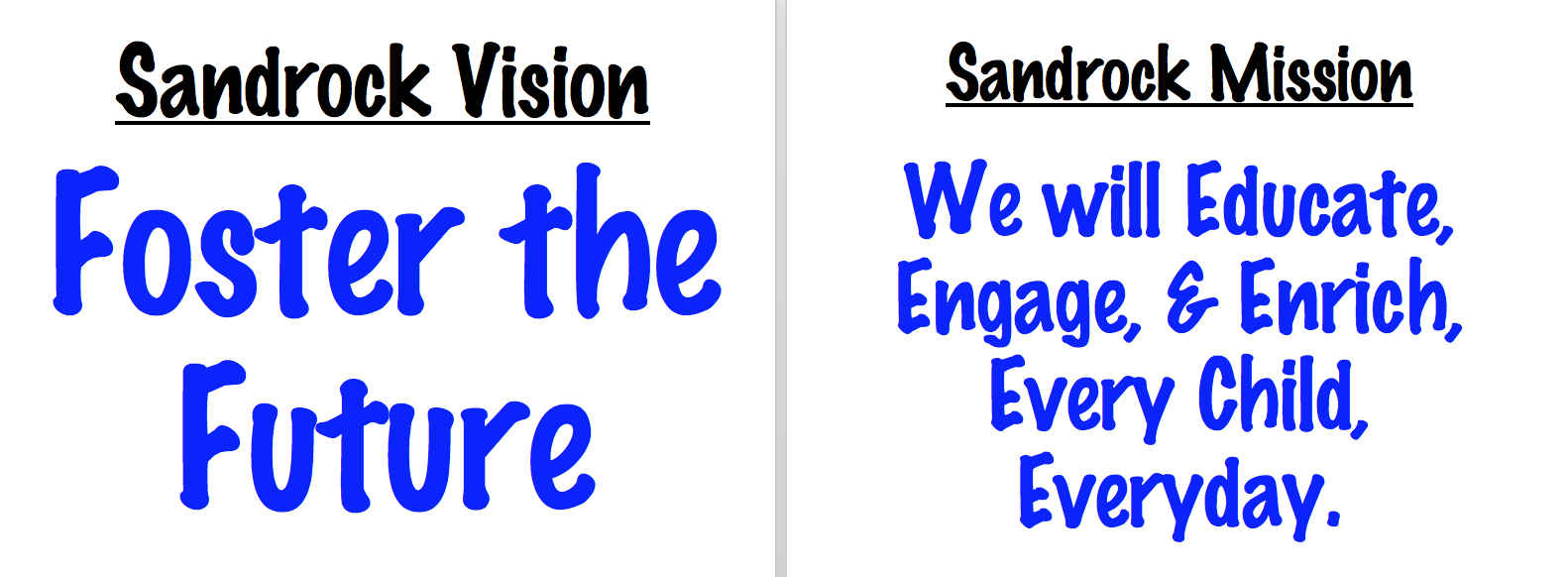 Sandrock Elementary Vision & Mission Statements