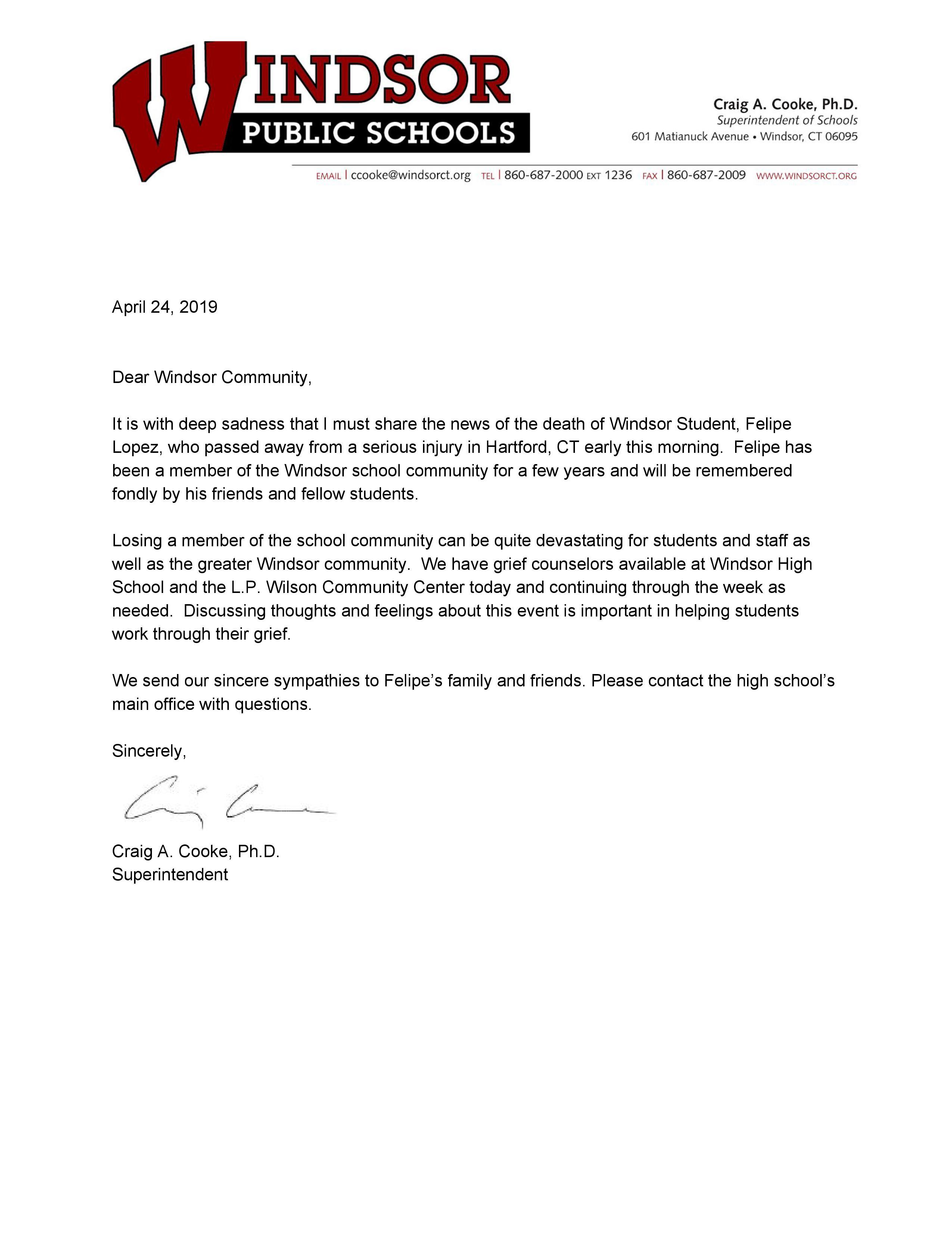 Letter from the Superintendent regarding Felipe Lopez