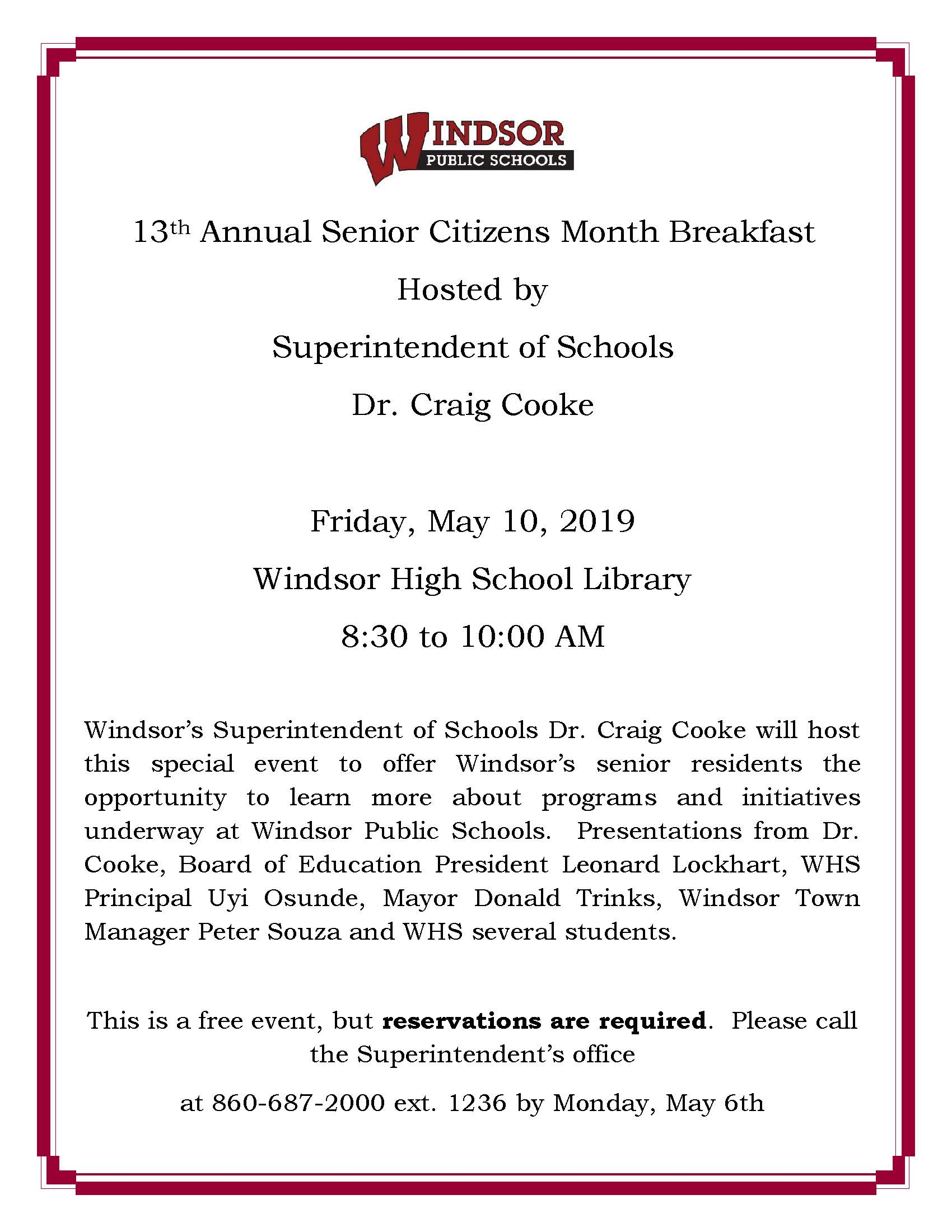 Area senior citizens invited to breakfast. Register by May 6th.