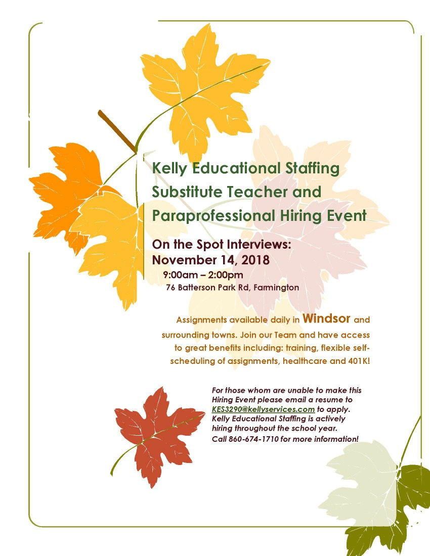 Kelly Services Holds Recruiting Open House: Nov 14