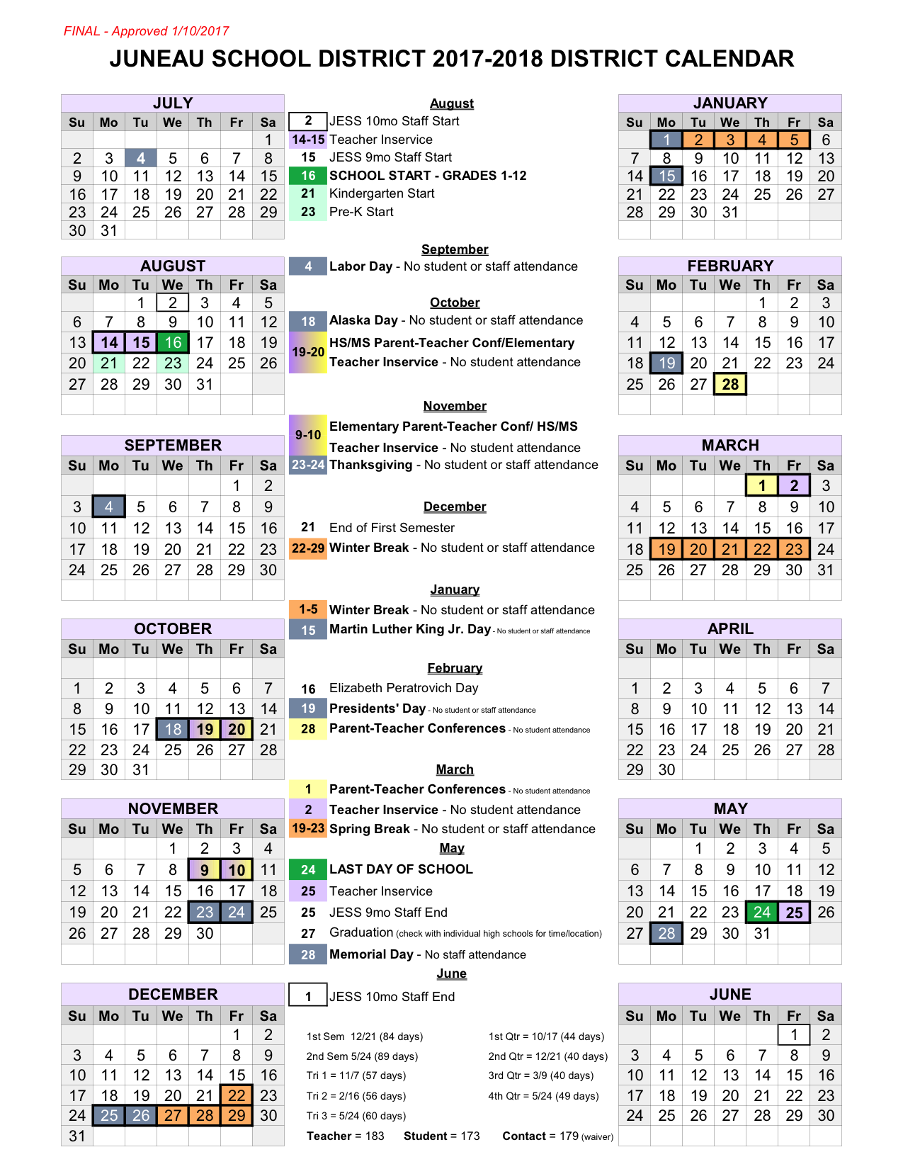 2017-2018 School Year Calendar (Click on block to download)