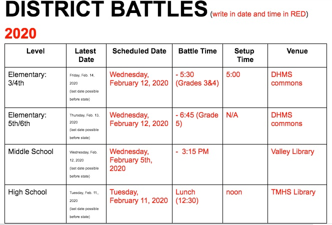 district battle of the books! CLICK Here