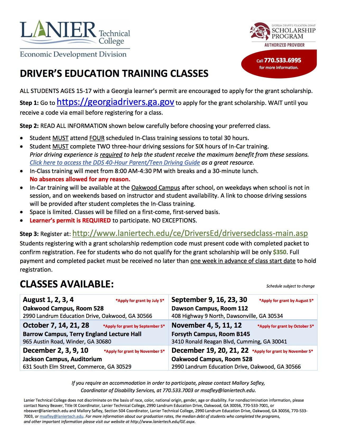 Application Period Georgia Driver's Ed Classes