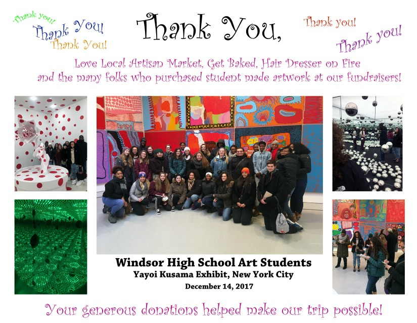 The WHS Art Department thanks community for support