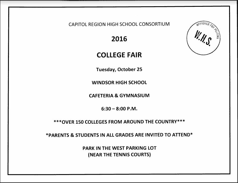 Tues., Oct. 25 College Fair for all students & families