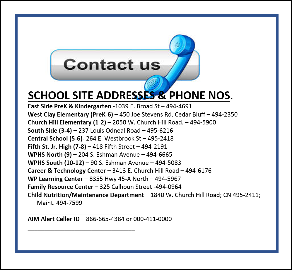 School Site Addresses & Phone Nos.