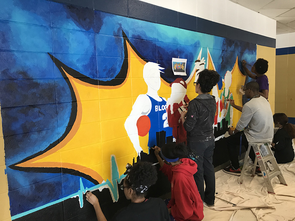 Students Beautify School with New Mural