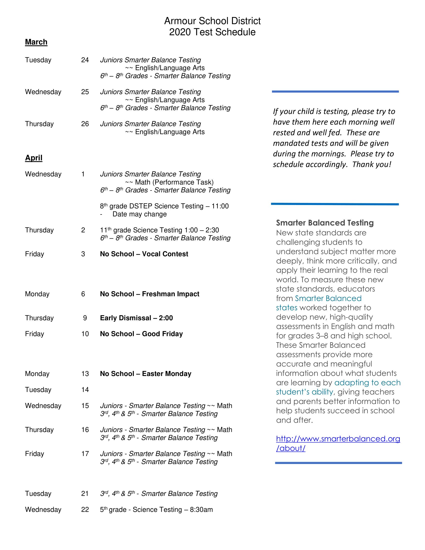 2020 State Testing Dates