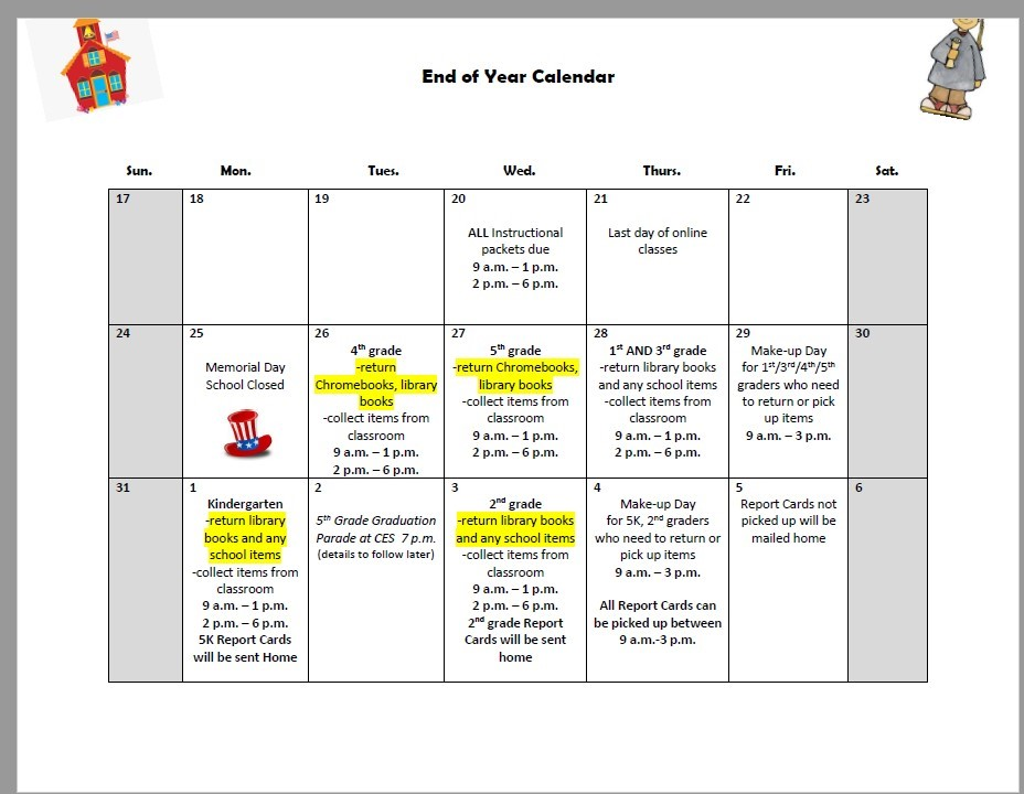 End of Year Calendar for CES